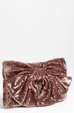 RED #Valentino Sequin Bow Clutch