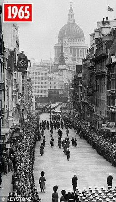 Sir Winston Churchill's funeral cortege on Ludgate Hill, London - 1965.