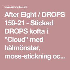"""After Eight / DROPS 159-21 - Stickad DROPS kofta i """"Cloud"""" med hålmönster, moss-stickning och sjalkrage. Stl S - XXXL. - Gratis mönster från DROPS Design"""