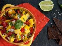 {Kelsey's Essentials} :: Mango Salsa : Served with Seared Scallops, Guac, and Tortillas for amazing tacos