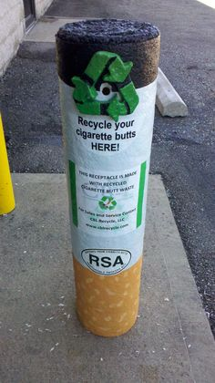Recycling Receptacle 100% Recycled Cigarette Waste the Solution to Cigarette Pollution RSA version