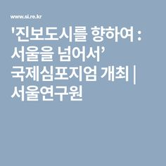 '진보도시를 향하여 : 서울을 넘어서' 국제심포지엄 개최 | 서울연구원