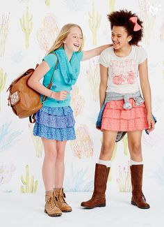 Mix and match pretty tops and skirts to create your own style. Preteen Fashion, Girls Fashion Clothes, Little Girl Fashion, Teen Fashion Outfits, Kids Fashion, Style Clothes, Fashion Fashion, Cute Teen Outfits, Teenage Girl Outfits