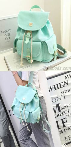Fresh Mint Green Pure Color Girls Rucksack Candy Canvas College Backpack for big sale! Green Backpacks, Stylish Backpacks, Cute Backpacks, Girl Backpacks, School Backpacks, Colorful Backpacks, Lace Backpack, Retro Backpack, Floral Backpack
