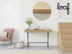 Why not banish that boring corporate desk and get creative with this slimline bleached oak home office addition? We reckon the rounded corners rock. Pleated Curtains, Curtains With Blinds, Interior Inspiration, Room Inspiration, Coffee Table And Sideboard, Curtain Accessories, Comfy Sofa, Pencil Pleat, Guest Bed