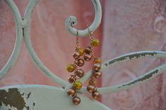 Crea Copine Collection - Earrings with rosé and yellow beads - Unique and handmade - Ordernumber CC-14-043 (Oorringen met rosé en gele kralen - Uniek en handgemaakt - Bestelcode CC-14-043) - 10 euro + shipping costs