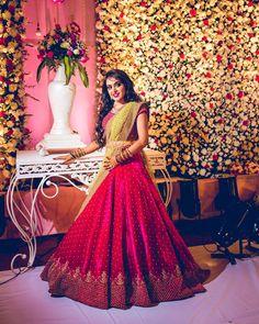 Image may contain: 1 person, standing and indoor Half Saree Lehenga, Bridal Lehenga Choli, Saree Dress, Sarees, Indian Reception Dress, Bride Reception Dresses, Indian Bridal Outfits, Indian Bridal Fashion, Half Saree Designs