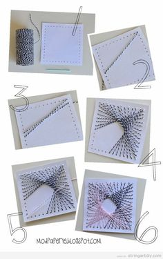 Easy String Art turorial on cardboard