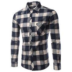 18.94$  Watch here - http://dilko.justgood.pw/go.php?t=188632913 - Plaid Long Sleeve Slimming Men's Shirt