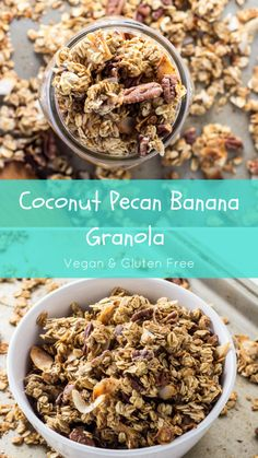 The flavor of banana bread with toasty coconut and pecans, this Coconut Pecan Banana Granola is perfect for breakfast with almond milk or afternoon snacking. It's made with minimal ingredients you probably have in the pantry and ready in about 35 minutes. Vegan, gluten free, and naturally sweetened.