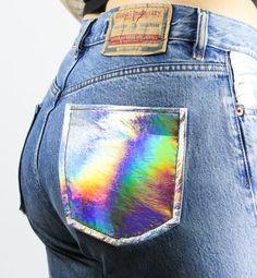"RENOVACIÓN VINTAGE Jeans ""Holográfico"" – M | Diesel pantalones Holo Rainbow bolsillos a Highwaist novio azul"