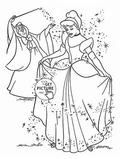 Princess Cinderella coloring page for kids, disney princess coloring pages printables free - Wuppsy.com