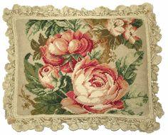 French Chintz Fabric   Cabbage Rose V Needlepoint Pillow