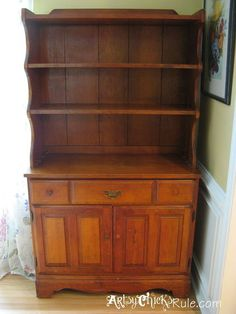 1970 s craigslist hutch turned baker s hutch chalk paint, chalk paint, painted furniture, repurposing upcycling