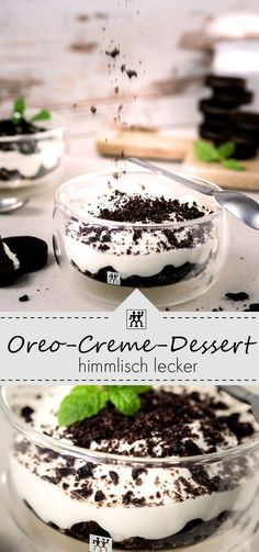 Mit F… Oreo-Creme-Dessert: Super delicious dessert. Made easy and fast. With cream cheese, cottage cheese and mascarpone … and of course delicious Oreo biscuits. Dessert Oreo, Oreo Desserts, Fall Desserts, Health Desserts, Biscuit Oreo, Oreo Biscuits, Oreo Torta, Oreo Cake, Healthy Dessert Recipes