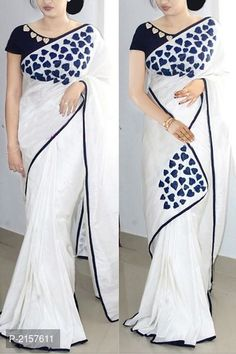 Paper Silk Saree Collection With Embroidery Work Kerala Saree Blouse Designs, Saree Blouse Neck Designs, Fancy Blouse Designs, Trendy Sarees, Stylish Sarees, Fancy Sarees, New Fashion Saree, Tokyo Fashion, Fashion Outfits