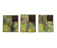Blooming Trees  set of 3 Mini Textile Art by BozenaWojtaszek