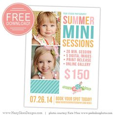 FREE Mini Session Photography Marketing Template www.hazyskiesdesigns.com