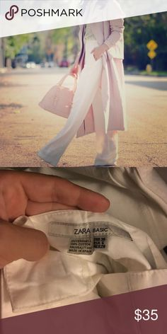 Zara Basic white cotton flare trousers Selling a very gently used/like new pair of size 6 Zara Basic white trousers! Never been worn. These feature a zip and clip closure at the waist with a built in tie-waist belt; material is cotton and form fitting, with a flared hem. Zara Pants Boot Cut & Flare
