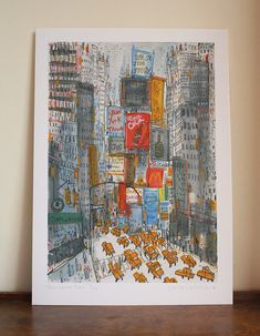 TIMES SQUARE TAXIS New York /nyc taxis/ Signed Limited Edition Giclee print from watercolour/ drawing/ painting by artist Clare Caulfield.