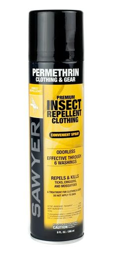 Sawyer Permethrin repels insects, kills ticks, mosquitoes, chiggers, and more than 55 other kinds of insects on contact. It is odorless when dry and will not stain clothing, fabrics, or any of your outdoor gear. A single application lasts 6 washings or 42 days. Spray down your clothes and tent before you take off and you're set!