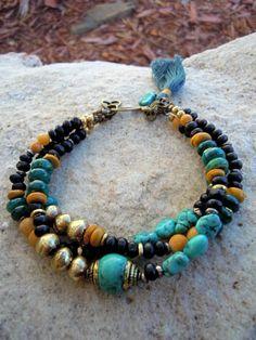 Love the tassel Bohemian Bracelets, Bohemian Jewelry, Beaded Jewelry, Gypsy Bracelet, Jewelry Gifts, Jewelery, Jewelry Bracelets, Bracelet Making, Jewelry Making
