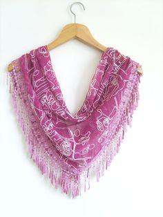 Linen Scarf With Lace / Fuschia Scarf  / by AnatolianAccessories, $19.90