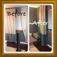 My curtain project.  Added some chevron fabric to lengthen them after I got a new curtain rod that it mounted higher up. One more panel to go!