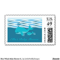 Blue Whale Baby Shower Stamp