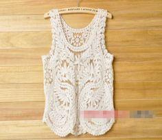 Women Retro Lace Floral Sleeveless Crochet Knit Vintage Vest Tank Tops Pullover | eBay