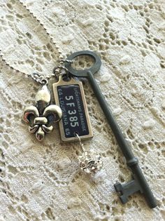 Louisiana ROAD TRIP Necklace with 1965 Mini by DuctTapeAndDenim, $26.00