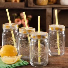 The Pioneer Woman Simple Homemade Goodness Mason Jars with Lid and Straw, Set of 4 (Clear) Mason Jars With Handles, 16 Oz Mason Jars, Healthy Baking, Healthy Foods To Eat, Healthy Snacks, Entertainment Center Kitchen, Entertainment Stand, Vegetable Nutrition, Diet Food List