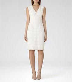 Womens Off White Lace Dress - Reiss Eris