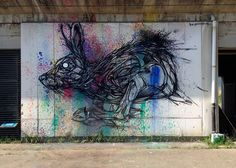 Geometric Animal Street Art By Dzia Brings Life To Abandoned Urban Areas - Romana Avila Mural Painting, Street Art Graffiti, Street Artists, Public Art, Urban Art, All Art, Line Art, Illustration, Art Drawings