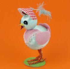 Blue Peep - Vintage Chenille, Paper, and Felt Chick Figure Easter Decoration