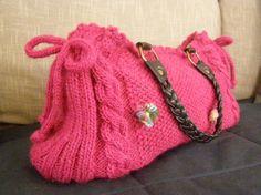 sac rose indien en tricot et crochet €35.00