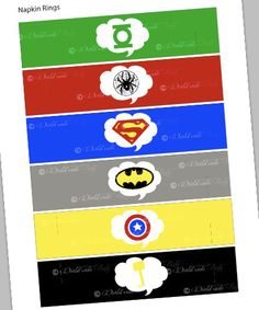 Napkin Ring - SuperHero Avengers Party - instant download - printable party - digital file - DIY PDF on Etsy, $3.50