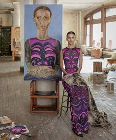 """Francesco_Clemente_Model_As_Muse_For_Harpers_Bazaar_3 Model is Liya Kebede - clothing line- Lemlem - quote: """" refuses to wear """"dresses you are trying to figure out!"""" and gravitates towards men's sweaters; """"I love men's sweaters, men's pants- I love all l that stuff!"""" ( Liya is a mother of two, and also does work for Maternal Health foundation- in Addis Ababa, Ethiopia)"""