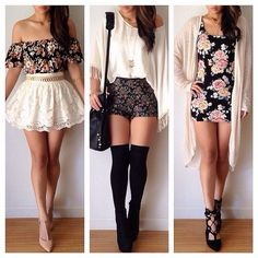lace, skirt, floral, thigh high socks, black, shorts, white, body con, cardigan, spring