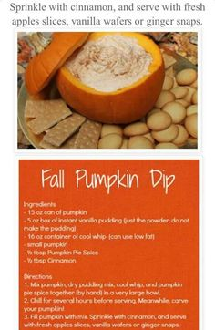 ~ Nice fall dip ~ Thanksgiving appetizer ~ with apples, ginger snaps, vanilla wafers, pears..