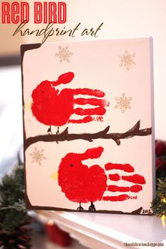 kid craft: red bird handprint art from blog.thecelebrationshoppe.com ~ perfect for Christmas or Mother's Day gifts #kidart #mothersday