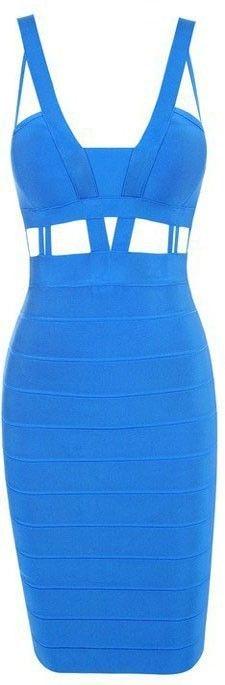 Blue Cutout Bandage Bodycon Dress