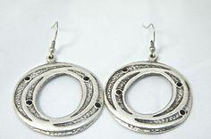 Handcrafted Design Ottoman Style Jewelry Onyx Antique Silver Dangle Earrings Start bid $6.00