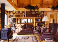 cozy living room with stove - Love the bookshelves and leather. Country Living Decor, Decor, Home, House, Room, Great Rooms, Living Room With Stove, Cozy Living Rooms, Stove Decor