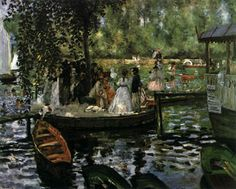 """La Grenouillère. 1869. Oil on canvas, 66x81 cm (Renoir). Nationalmuseum, Stockholm. In 1869, Renoir and Monet produced a whole series scenes of modern life painted outdoors. Their subject was La Grenouillère (literally """"frogpond""""). Situated on the banks of the Île de Croissy on the Seine near Paris (opposite Bougival), La Grenouillère was an elegant establishment built on a barge and combining bathing cabins and a restaurant."""