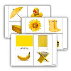 Livro de cor: amarelo. Cada livro de cor inclui:  1carta com titulo  10 imagens