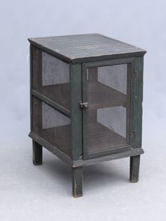"""C. 1900's pie safe in old green paint. 16 1/2"""" x 28""""."""