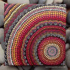 Fire design Aboriginal Dot Art, Acrylic Painting on 20 x 20 cm stretched canvas, Red Decor, Authentic Australian Aboriginal Art: