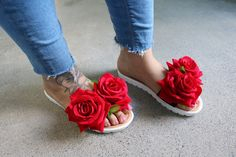 Sliders shoes. Mister'n'Miss Scarlet Rose Floral Slide Sandals