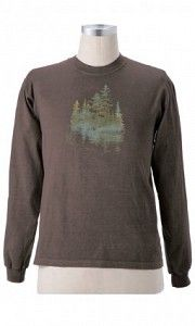 #ECmenlstee655-108 Forest Solitude On Organic L/S Tee - A colorful forest scene evokes feeling of calm and serenity. Design printed using Eco-friendly non-PVC inks on a long sleeve clay-dyed T-shirt. 100% Organic Cotton. $40.00  www.stylishorganics.com